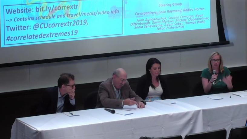 Adam Sobel (Columbia University, APAM), Michael Oppenheimer (Princeton),  Sarah Perkins-Kirkpatrick (UNSW), and moderator Kate Marvel (APAM - NASA GISS) sit around a table in front of projector screen